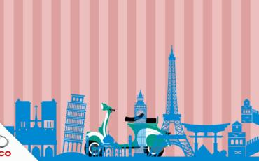 imagem de topo com uma scooter pelo mundo
