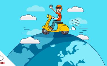 ilustração de um rapaz em cima de uma scooter pilotando pelo mundo