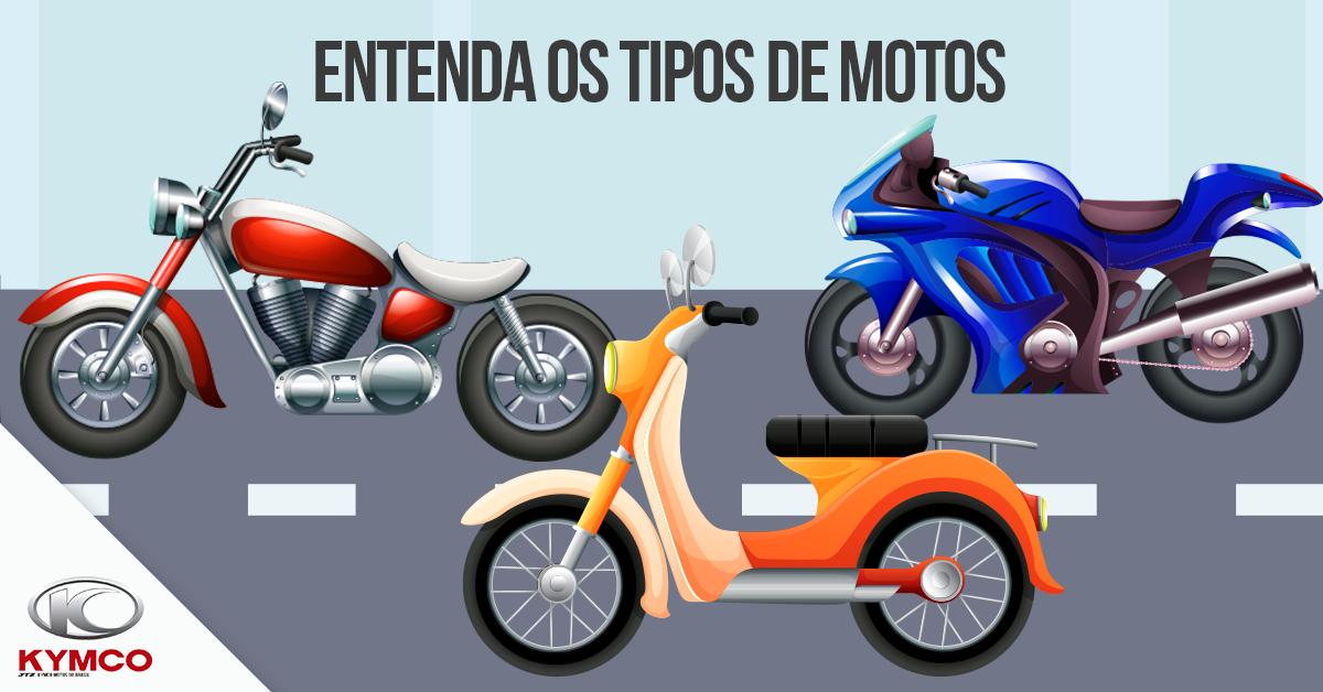 ilustração com vários tipos de motos como as scooters, custom e esportivas.
